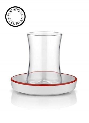 Tiryaki Çay Set 6'lı Çizgi Kırmızı-Koleksiyon